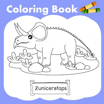 Libro da colorare dinosauro zuniceratops