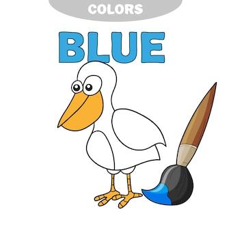Libro da colorare - uccello finny. impara i colori - blu