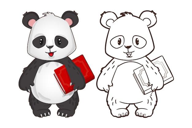 Libro da colorare piccolo panda divertente che tiene un libro nelle sue mani illustrazione vettoriale in stile cartone animato