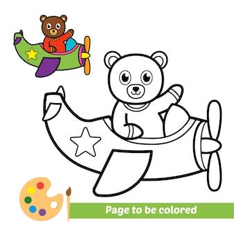 Libro da colorare per bambini orso che vola su un aereo