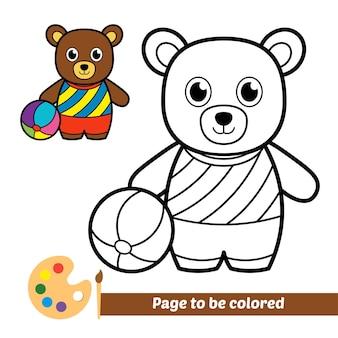 Libro da colorare per bambini orso che gioca a palla vettore