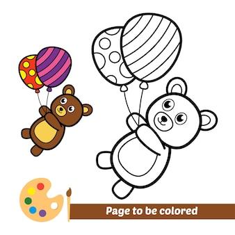 Libro da colorare per bambini orso che gioca a palloncini vettore