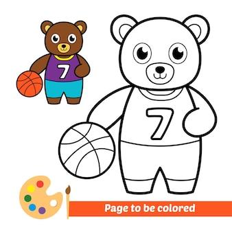 Libro da colorare per bambini orso che gioca a basket vettore