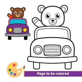 Libro da colorare per bambini orso in sella a un'auto vettore