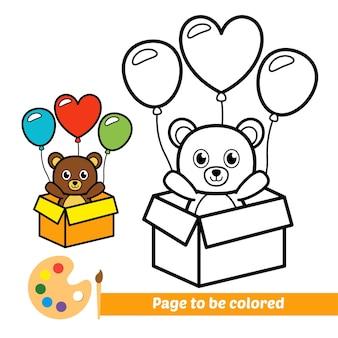 Libro da colorare per bambini orso con palloncini vettore