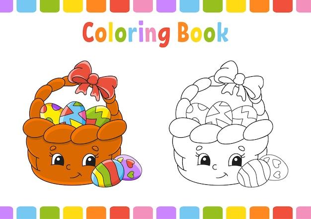 Libro da colorare per bambini. personaggio dei cartoni animati. illustrazione.