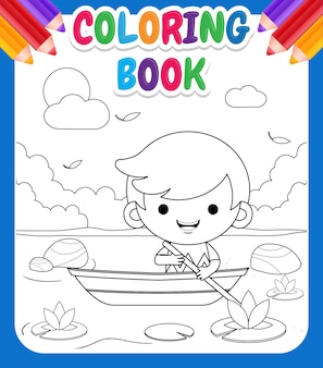 Libro da colorare per bambini. cartone animato carino ragazzino cavalcando barca al fiume illustrazione