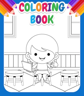 Libro da colorare per bambini. cartoon cute little girl holding presentazione portatile in clasroom