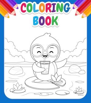 Libro da colorare per bambini. pinguino sveglio del fumetto che sta sul loto, beve il tè della bolla o il tè della perla