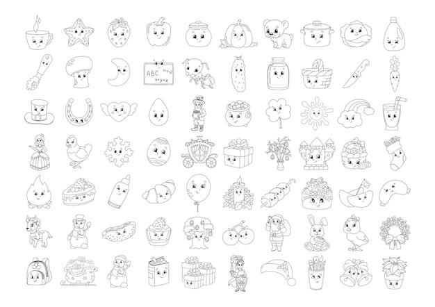 Libro da colorare per bambini personaggi allegri