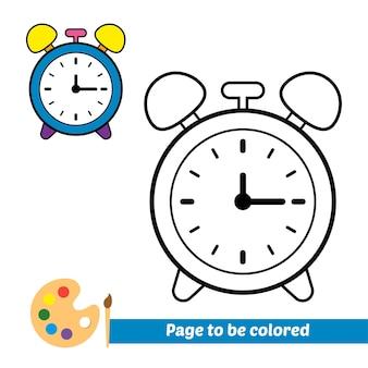 Libro da colorare per bambini orologio vettoriale