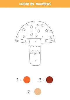 Libro da colorare per bambini. simpatico agarico di mosca kawaii.
