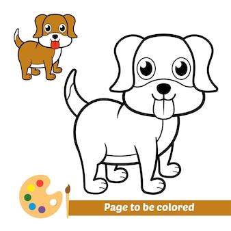 Libro da colorare per bambini, vettore di cane