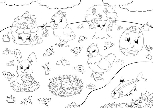 Libro da colorare per bambini. clipart di pasqua.