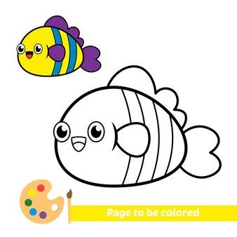 Libro da colorare per bambini vettore di pesce