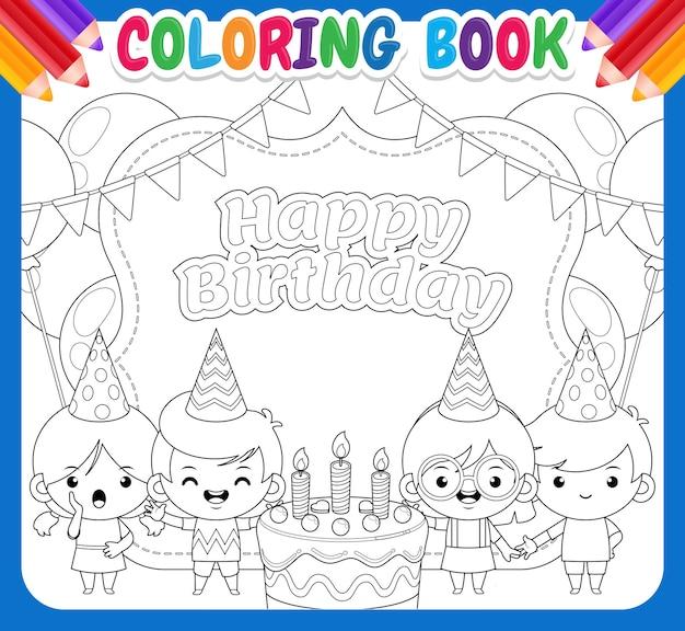 Libro da colorare per bambini. quattro bambini che festeggiano lo striscione di buon compleanno