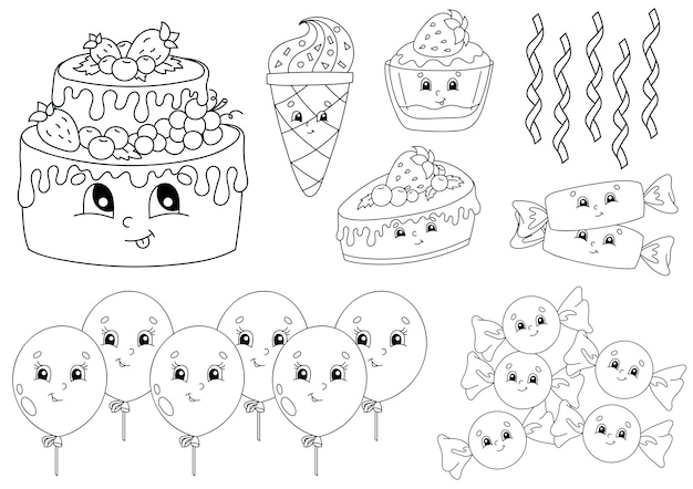 Libro da colorare per bambini. tema di buon compleanno. personaggi allegri.