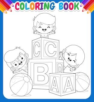 Libro da colorare per bambini. bambini felici con blocco alfabeto