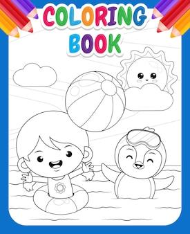 Libro da colorare per bambini ragazza carina felice e pinguino che giocano a pallone da spiaggia in mare