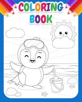 Libro da colorare per bambini pinguino carino e felice si prepara alle immersioni