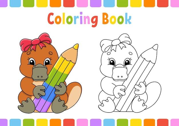 Libro da colorare per bambini ornitorinco