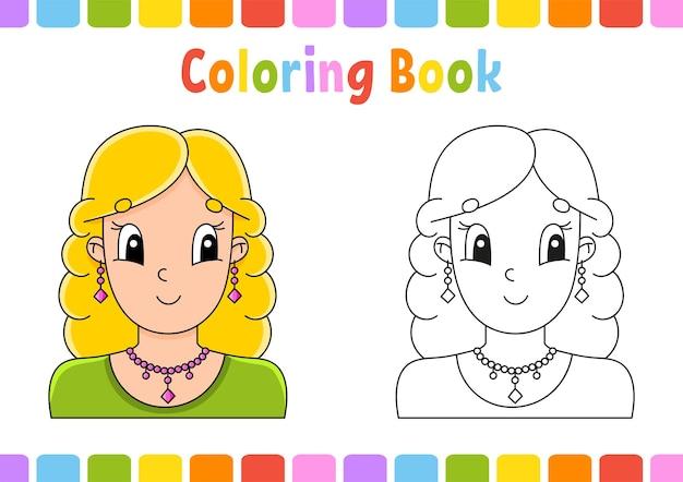 Libro da colorare per bambini bella ragazza