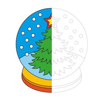 Libro da colorare per bambini, globo di neve con albero di natale