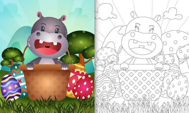 Libro da colorare per bambini a tema felice giorno di pasqua con un simpatico ippopotamo nell'uovo del secchio