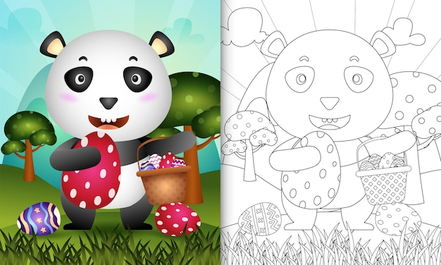 Libro da colorare per bambini a tema felice giorno di pasqua con un simpatico panda che tiene l'uovo del secchio e l'uovo di pasqua