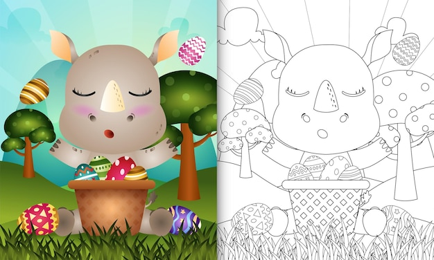 Libro da colorare per bambini a tema felice giorno di pasqua con un simpatico rinoceronte nell'uovo del secchio