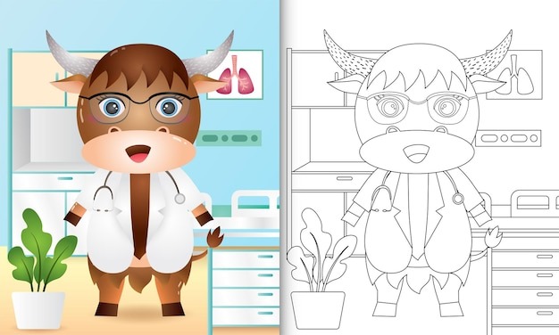 Libro da colorare per bambini con un simpatico personaggio medico buffalo illustrazione