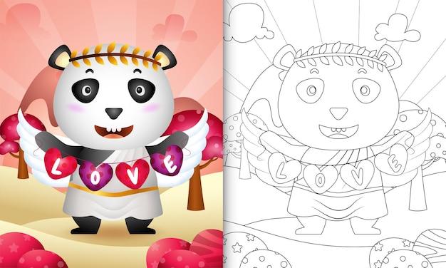 Libro da colorare per bambini con un simpatico angelo panda con costume da cupido che tiene la bandiera a forma di cuore