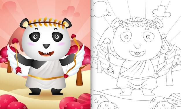 Libro da colorare per bambini con un simpatico angelo panda che usa il costume di cupido a tema san valentino