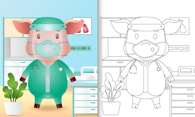 Libro da colorare per bambini con un simpatico personaggio di maiale utilizzando il costume del team medico