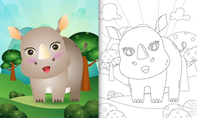 Libro da colorare per bambini con un simpatico personaggio di rinoceronte