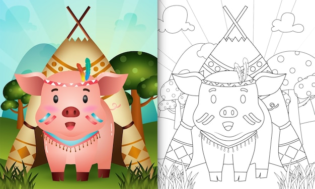 Libro da colorare per bambini con un simpatico personaggio di maiale boho tribale illustrazione