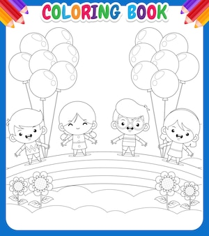 Libro da colorare per bambini con disegno di bambini che tengono palloncini sopra un arcobaleno