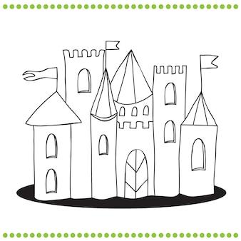 Libro da colorare - illustrazione di arte di linea di un castello