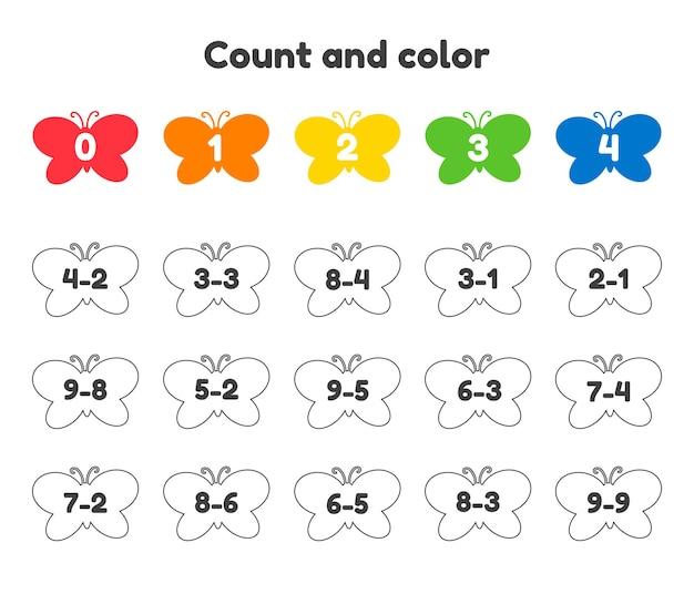 Numero del libro da colorare per bambini