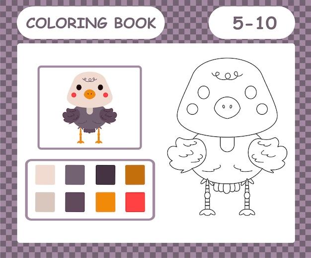 Libro da colorare o pagina cartone animato struzzo carino
