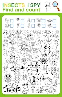 Pagina del libro da colorare i conteggio delle spie e foglio di lavoro stampabile per gli insetti a colori per la scuola materna e l'asilo