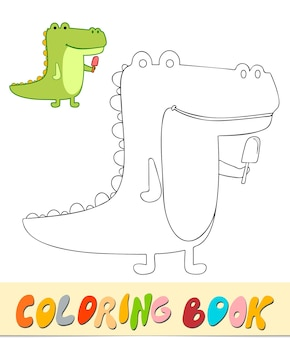 Libro da colorare o pagina per bambini. illustrazione vettoriale di alligatore in bianco e nero
