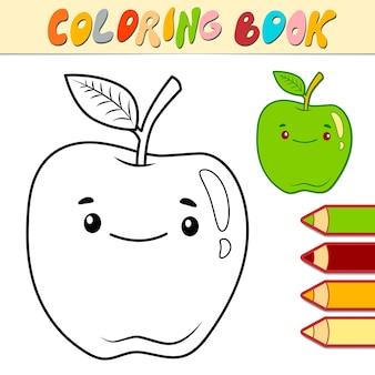 Libro da colorare o pagina per bambini. illustrazione in bianco e nero della mela