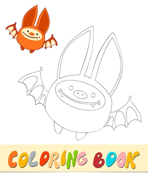 Libro da colorare o pagina per bambini. illustrazione vettoriale di pipistrello in bianco e nero