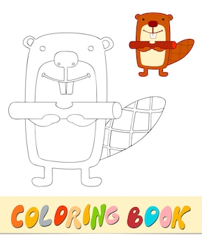 Libro da colorare o pagina per bambini. illustrazione vettoriale di castoro in bianco e nero