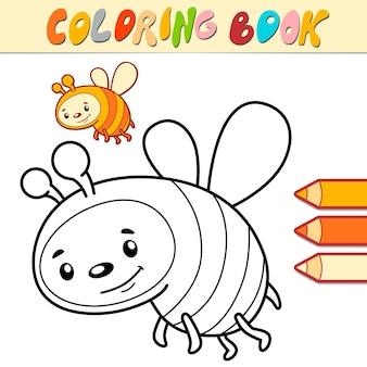 Libro da colorare o pagina per bambini. illustrazione vettoriale di ape in bianco e nero