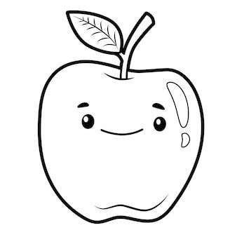 Libro da colorare o pagina per bambini. mela in bianco e nero