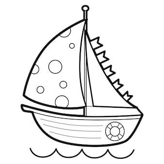 Libro da colorare o pagina per bambini. barca in bianco e nero
