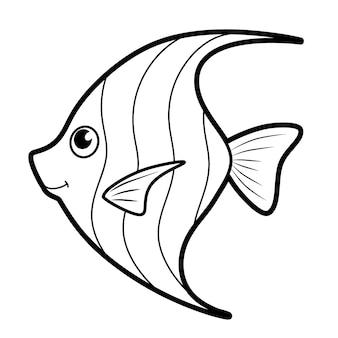 Libro da colorare o pagina per bambini. pesce bianco e nero