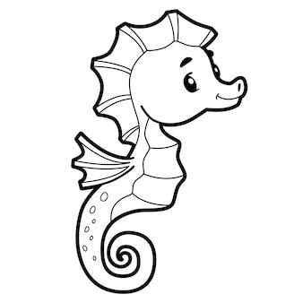 Libro da colorare o pagina per bambini. cavalluccio marino in bianco e nero